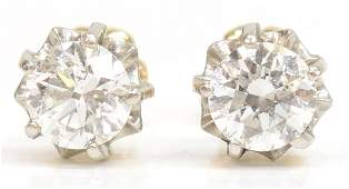 LADIES 14KT  100 CT TW DIAMOND ESTATE EARRINGS
