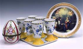 (9) COLLECTION LIMOGES PORCELAIN TABLE ITEMS