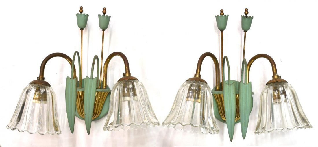 (2) FRENCH GILT & ART GLASS TWO-LIGHT WALL SCONCES