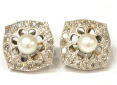 FINE 14KT GOLD 100 CT TW DIAMOND ESTATE EARRINGS