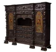 HIGHLY CARVED SPANISH LIBRARY BOOKCASE