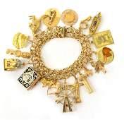 LADIES VINTAGE YELLOW GOLD CHARM BRACELET