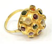 LADIES 18KT GOLD MULTIGEMSTONE SPUTNIK RING