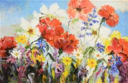 FRAMED OIL PAINTING, FIELD OF FLOWERS 20TH C