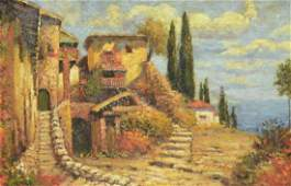 FRAMED OIL PAINTING, TUSCAN LANDSCAPE 20TH C.