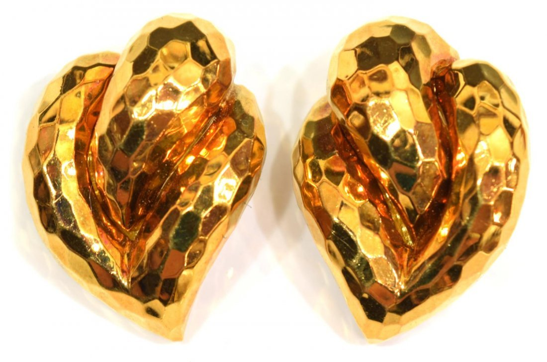 HENRY DUNAY 18KT HAMMERED GOLD ESTATE EARRINGS