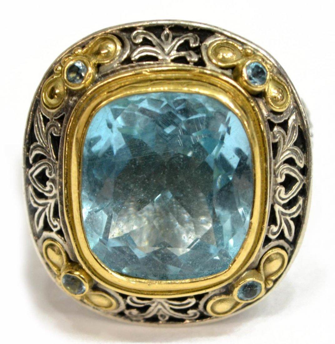 KONSTANTINO 18KT GOLD, STERLING & BLUE TOPAZ RING
