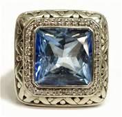 JOHN HARDY 18KT & STERLING BLUE TOPAZ RING