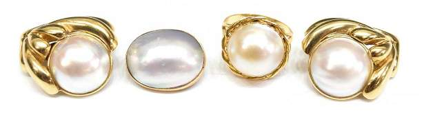 LADIES 14KT GOLD & MABE PEARL ESTATE JEWELRY