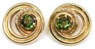 LADIES ESTATE 14KT TOURMALINE  DIAMOND EARRINGS