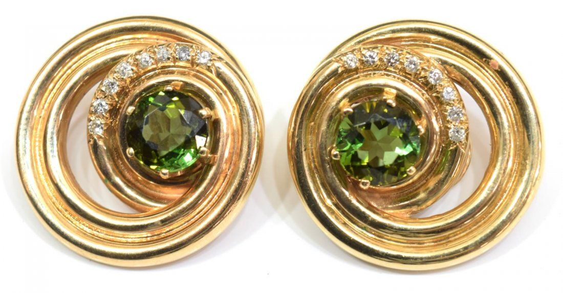 LADIES ESTATE 14KT TOURMALINE & DIAMOND EARRINGS