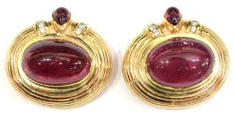 ESTATE 14KT, PINK TOURMALINE & DIAMOND EARRINGS