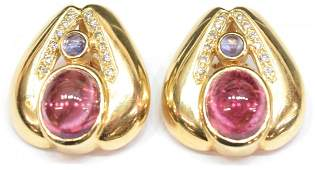 ESTATE 14KT, TOURMALINE & DIAMOND EARRINGS