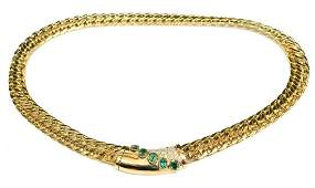 LADIES 14K GOLD DIAMOND & EMERALD ESTATE NECKLACE