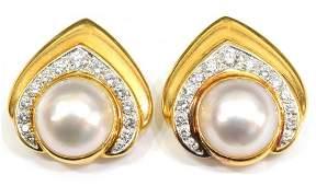 LADIES 18K GOLD PEARL  DIAMOND CLIP ON EARRINGS