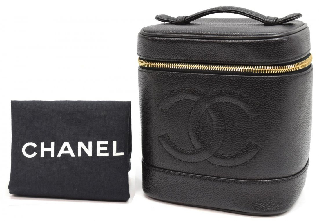 CHANEL BLACK GRAINED LEATHER COSMETIC BAG