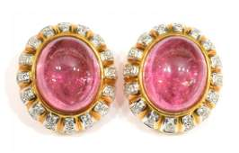 ESTATE 18KT PINK TOURMALINE  DIAMOND EARRINGS