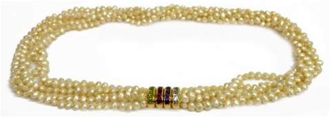 LADIES PEARL NECKLACE WITH 18KT GEMSTONE CLASP