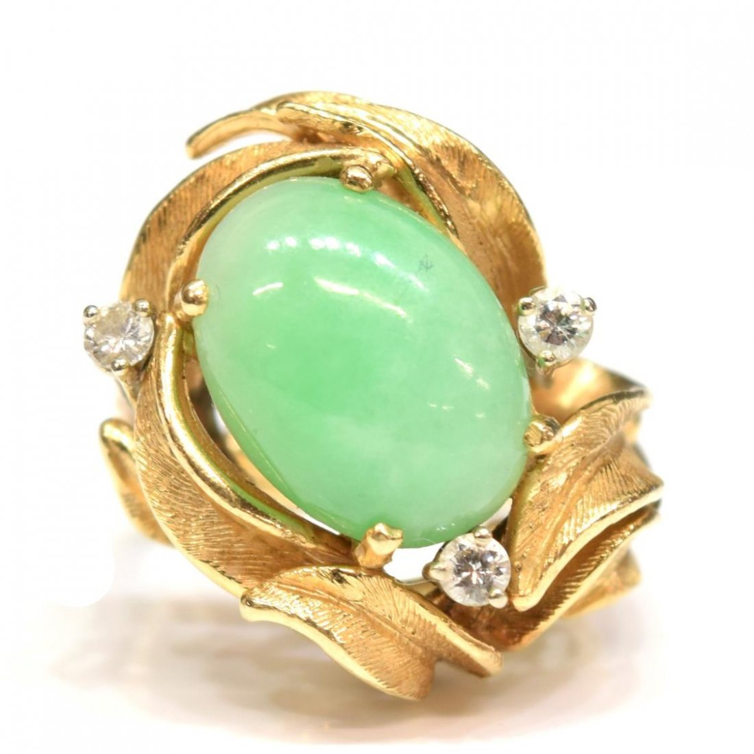 LADIES 14K GOLD JADE AND DIAMOND COCKTAIL RING