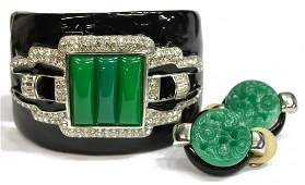 KENNETH JAY LANE SIGNED DECO STYLE JEWELRY