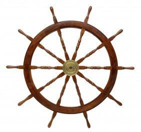 Large Carved Teakwood & Brass Spoked Ships Wheel