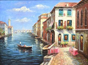Framed Oil Painting, View Of A Venice Canal