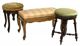 (3) Group Of French Upholstered Stools & Bench