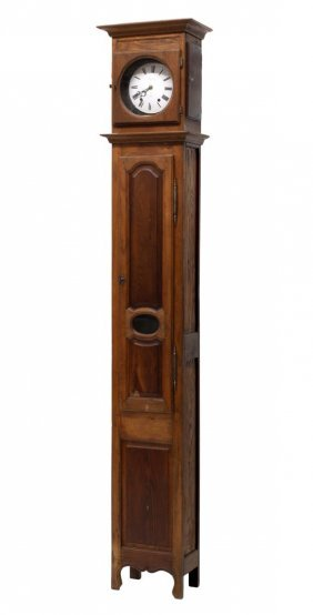 French Oak Cased Grandfather Clock, 19th C.