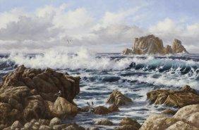 "Robert Wee (b. 1927) Seascape, ""off Pebble Beach"""