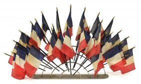 French Tricolour Flag Arched Table Top Display