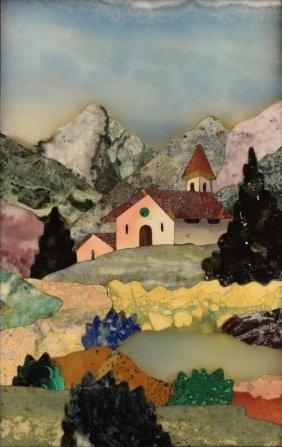 Italian Pietra Dura Inlaid Landscape Plaque