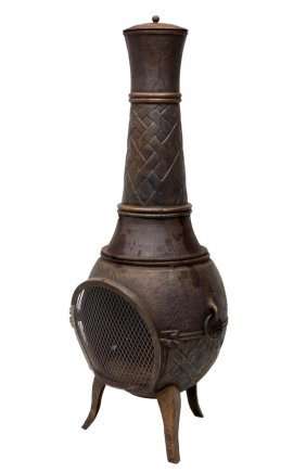 Large Cast Iron Standing Chiminea