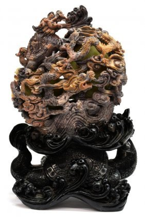 Chinese Carved Openwork Soapstone Dragon Turtle