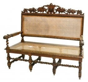 French Oak Frame Cane Settee, 19th C.