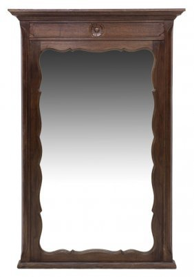 French Carved Oak Wall Mirror