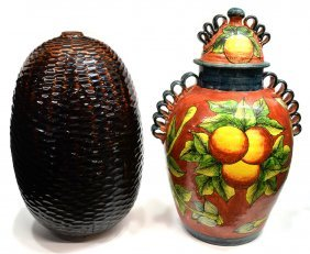 (2) Large Pinecone Form Urn, Foral Accented Jar