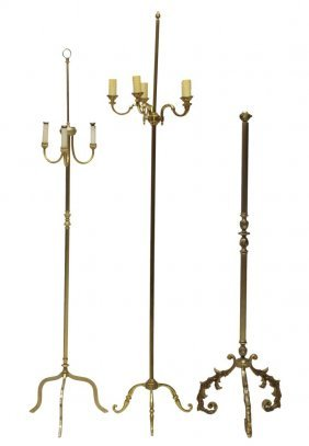 (3) French Gilt Metal Tripod Floor Lamps