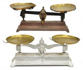 (2) French Counter Balance Cast Iron Scales