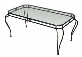 French Wrought Iron & Glass Coffee Table