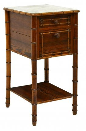 French Pine Marble Top Bedside Cabinet