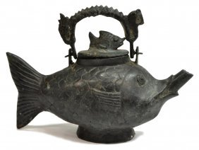 Asian Bronze Figural Form Fish Teapot Kettle