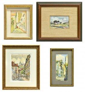(4) Group Of Watercolors Endre Darvas (ca '46)