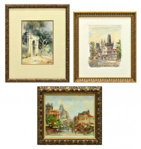 (3) Group Of Framed Signed Watercolor Paintings