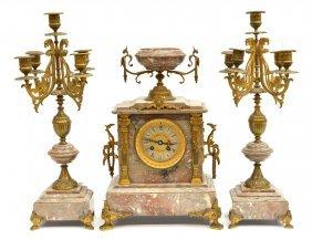 (3) French Marble & Bronze Clock Garniture Set