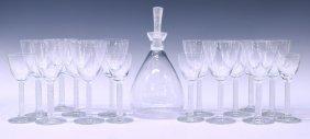 (18)lalique Crystal Phalsbourg Decanter & Stemware