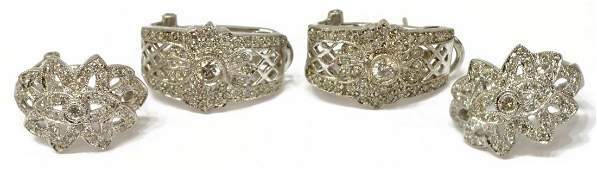 4 LADIES 14K GOLD  DIAMOND ESTATE EARRINGS