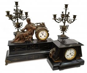 (4) Group Of French Figural Slate Mantel Clocks