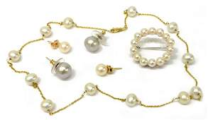 6 GROUP OF LADIES PEARL JEWELRY MIKIMOTO BROOCH