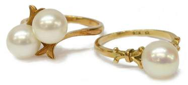 (2) LADIES 14KT GOLD MIKIMOTO PEARL RINGS