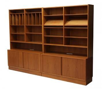 (2) DANISH MODERN TEAK BOOK CASES, POUL HUNDEVAD